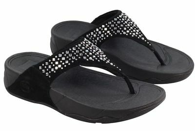 86c3520799565 Fitflop Novy Womens Black Suede Leather Studded Sandals Thongs Shoes 10 New