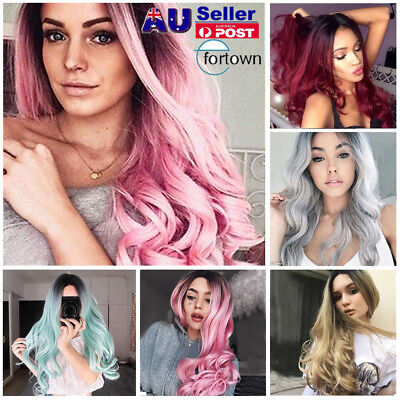 29'' Colorful Flaxen Ombre Wig Long Synthetic Curly Wavy Hair Wig Cosplay Party