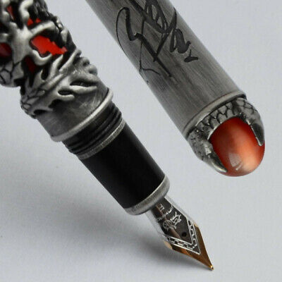 Jinhao Dragon King Play Pearl Silver Brush Finish Fine 18Kgp Nib Fountain Pen