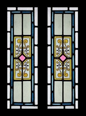 Stunning Painted Antique English Stained Glass Windows Adorned With Jewels