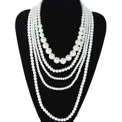 Pearl Necklace synthetic SSS Charm Wedding Womens Party Ladies Multi Chain