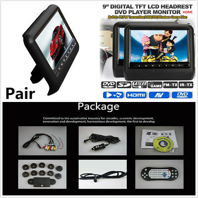 "2Pcs 9"" Digital Screen DC12V 12W Car DVD LCD Headrest USB SD HDMI Monitor Player"