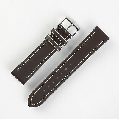 Di-Modell JUMBO Calf Leather Aviator Watch Strap in BROWN with White Stitching