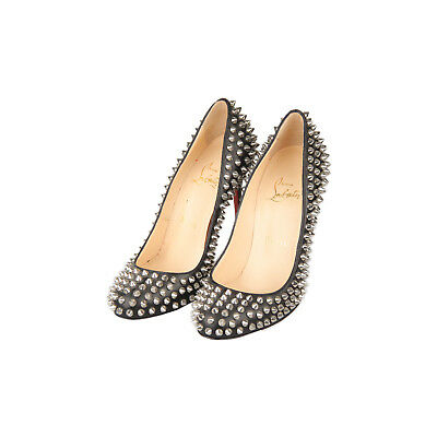 ffb54a05479 Authentic Christian Louboutin Black Leather Fifi Spikes 100 Pumps Shoes 36.5