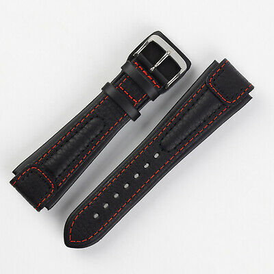 Di-Modell CHRONISSIMO Waterproof Calfskin Leather Marine Watch Strap - BLACK/RED