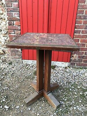 rare table bistro 1900 arts & craft signée FISCHEL vintage table