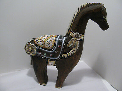 Great Looking Folk Art Handcrafted and Handpainted Wood Horse