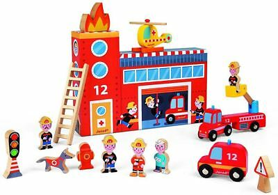 Janod STORY BOX FIREFIGHTERS Wooden Play Set Fireman Toddler/Child Toy BN