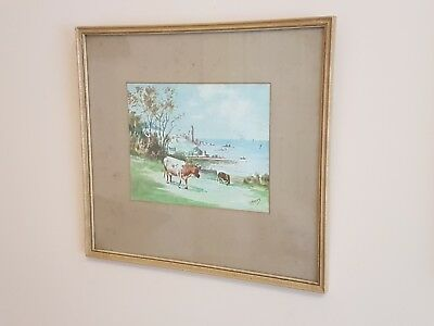 Early 20th Century Watercolour Painting 'Cows' Signed By D. Honey