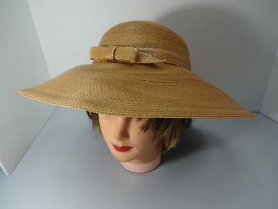 Vintage 1970's Frank Olive Tan Raffia Straw Super Wide Brim Hat 1 Size New W/tag