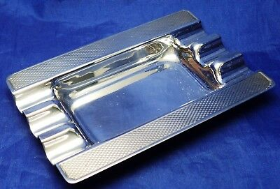 Art Deco Design Solid Silver Engine Turned  Ashtray By Harman Bros B'ham 1973