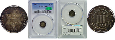 1867 Silver Three Cent Piece PCGS PR-64 CAC
