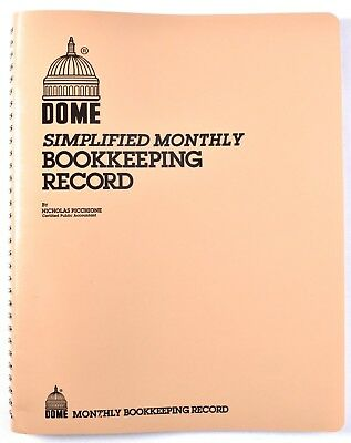 "DOME 612 Simplified Monthly Bookkeeping Record Tan Cover 8.5"" x 11"" >NEW<"