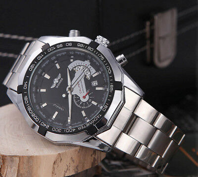 Men's Male Luxury Automatic Mechanical Date Stainless Steel Analog Sport Watch
