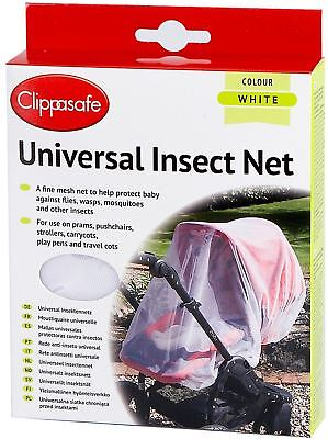 Clippasafe Universal Pram Pushchair Stroller Insect Net Mesh White Safety New