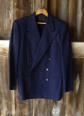 "Vtg Dark Blue Double Breasted Suit Sport Jacket * 1930's 40's * 42"" Chest"