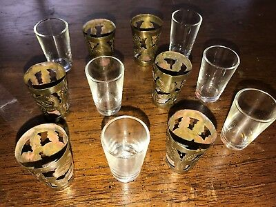 Set of 6 Vintage Shot Glasses set of 6 Glasses & 6 Metal Cylinder Glass Holders