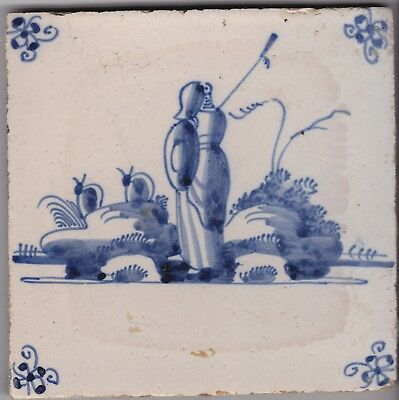 Delft Tile c. 18th / 19th century   (D 16)      Shepherd with hat