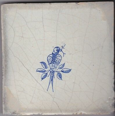 Delft Tile c. 18th / 19th century   (D 24)        Bird with twig