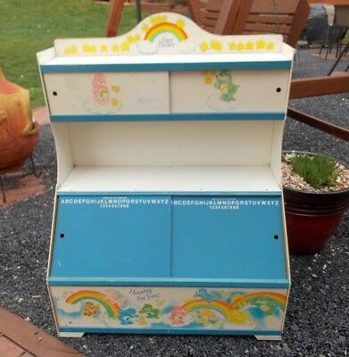 Vintage Care Bears Bear Toy Box Storage Display Chest Decor Furniture