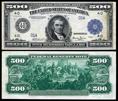 Nice  Crisp Unc. 1918 $500 Federal Reserve Note Copy!