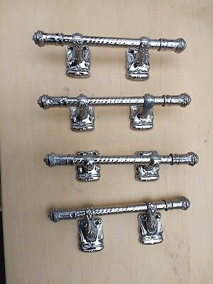 Coffin Handles set of four 8 inch vintage chromed metal heavy : burial : funeral