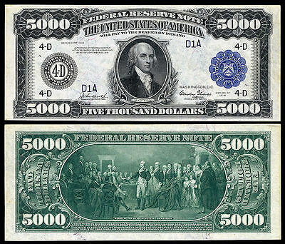 Nice  Crisp Unc. 1918 $5,000 Federal Reserve Note Copy!