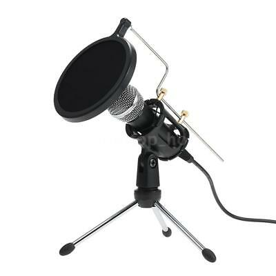 Condenser Microphone With Mini Stand Tripod Audio Recording For PC Phone W6R7