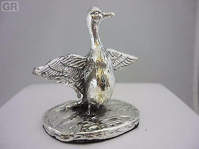 Stunning Hallmarked Sterling Silver Flapping Goose Statue - New & Boxed