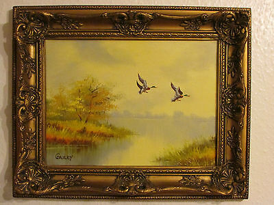Vintage Original Oil Painting On Canvas ' Ducks ' Signed By Gailey