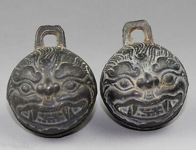 Exqisite a pair of Chinese Brnze Tiger Head Bells