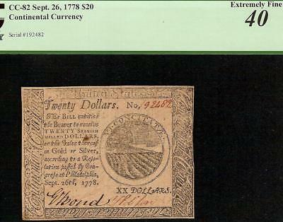 Sep 26, 1778 $20 Dollar Bill United States Continental Currency Note Pcgs 40