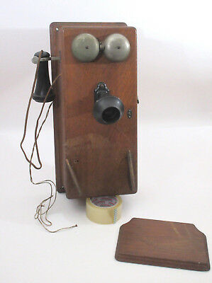 Vtg Oak Case Northern Electric Wall Phone 317S 5 Bar Magneto Bell Receiver 317