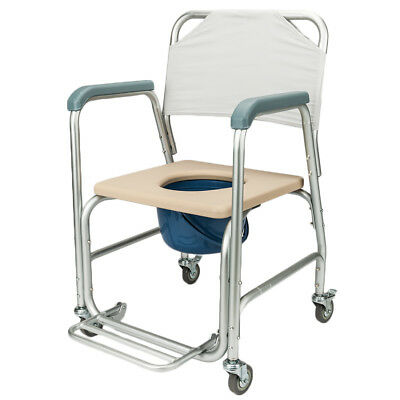 Transport Shower Bedside Commode Wheelchair Bathroom Rolling Toilet Chair