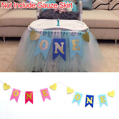 Baby One 1st Birthday Party Banner Garland High Chair Decoration Boy