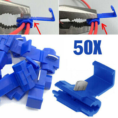 New 50x Blue Electrical Scotch Lock Wire Connectors Quick Splice Terminals Crimp