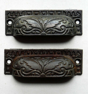 Eastlake Victorian CAST IRON DRAWER PULLS Set of Two Antique Aesthetic Hardware