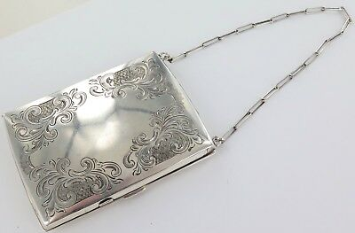 .unusual Antique Sterling Silver Combination Sovereign Holder, Compact Card Case