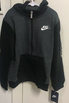 NEW Authentic Nike Boys Hoodie Jacket Jumper Boys Black/Grey Just Do It size 6-7