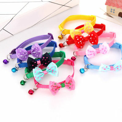 Cat Dog Pet Cute Bowknot Bow Tie Bell Adjustable Puppy Kitten Necktie Collar New