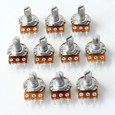 10 pcs Set Linear Taper Rotary Mono Potentiometer Pot 1K 5K 20K 100K 220K Ohm