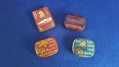N2: 3 Asst Gramophone Needle Tins & Mighty Atom Wireless Crystal Tin w Contents