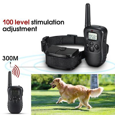Waterproof 300M 100LV LCD Remote Dog Pet Training Collar Shock Vibrate yy