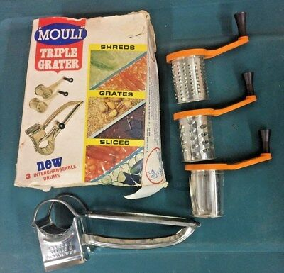 Vintage Mouli Triple Grater Rotary Shredder Stainless Cheese Nuts Pre-owned