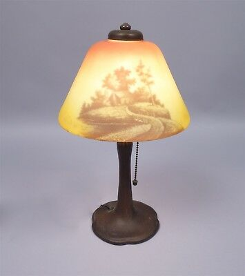 Antique Early 20c Handel Reverse Painted Bronze Boudoir Lamp Signed