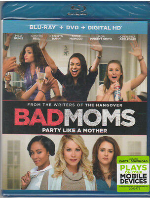 BAD MOMS (Blu-ray/DVD, 2016, 2-Disc Set, Includes Digital Copy UltraViolet)