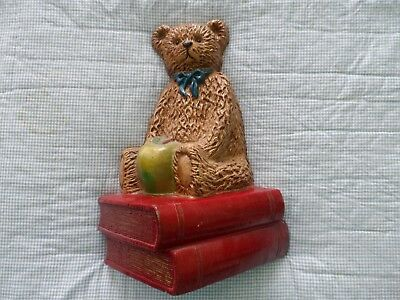 Teddy Bear 10 Inch Heavy Metal Door Stop With Books And Apple