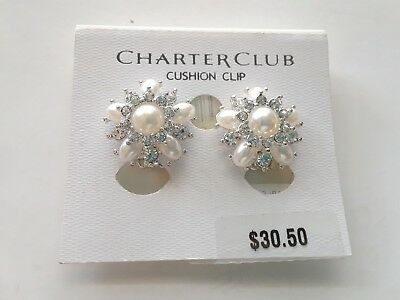 Charter Club Clip Earrings 30 Silver Tone New Over Stock With Tags