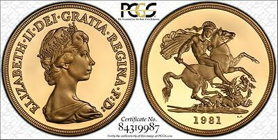 1981 UK Great Britain Gold Proof £5 Pounds Certified PCGS PR69DCAM Secure Holder