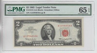 Red Seal $2 1963 PMG graded gem uncirculated 65EPQ